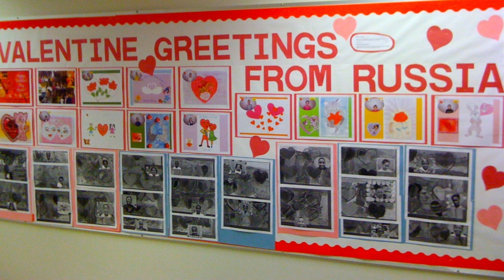 Valentines day wall at Village Charter School, Trenton, NJ