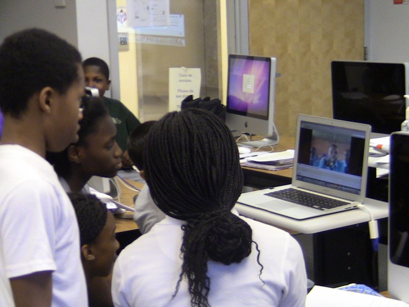 Students in Trenton, New Jersey Skype with their partners in Enugu, Nigeria