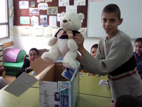 Global Connections students at the Al Amal School For Special Education in East Jerusalem took part in the iEARN Teddy Bear project with students from West Point, New York in 2008.