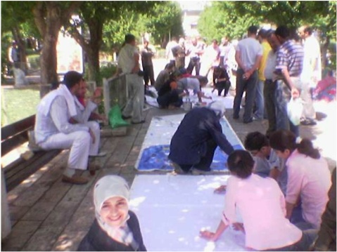 On September 18, 2005, iEARN Syria painted murals for the first time to promote the Cleanliness Act 49 in Arnous Square, Damascus.