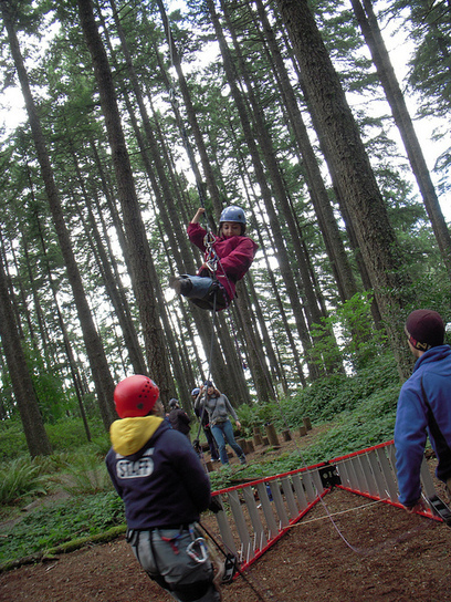 Azima, who was born with no hands and no legs below the knees, was participating in a ropes challenge course with other YES students with disabilities, as part of a weeklong orientation with Mobility International USA, in Eugene, OR.