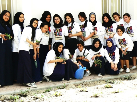 Khawla students are active in the annual Global Youth Service Day.