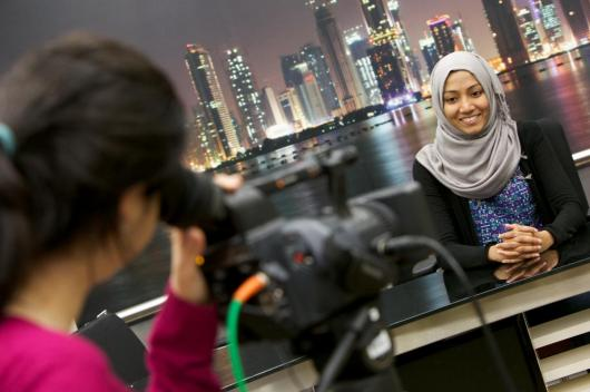 Kuwaiti and Omani High School Journalism Program students at journalism program at Northwestern University in Qatar.